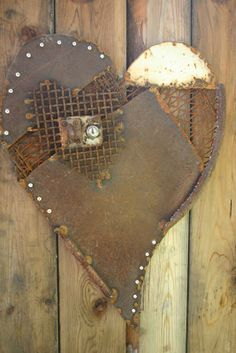 Heart Decoration From Scrap Metal Collage- Quirky recycled metal art fr. Recycled Metal Art, Scrap Metal Art, Metal Yard Art, Metal Tree Wall Art, Metal Artwork, Metal Projects, Metal Crafts, Art Projects, Welding Projects