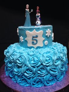 Frozen ombré birthday cake made by Brenda's cake designs