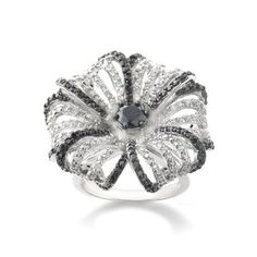 Icz Stonez Silvertone Black and White Cubic Zirconia Flower Ring