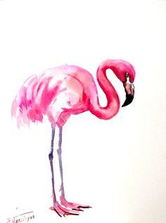 Pink Flamingo Original watercolor paper 12 X 9 in by ORIGINALONLY, $24.00