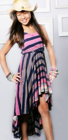 Hannah Banana Hi-Low Pink Ombre Stripe Dress for Tweens $54.00