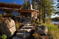 Landscape stairs leading to the Outdoor Room - contemporary - landscape - seattle - Krannitz Gehl Architects