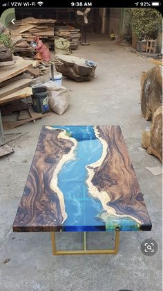 Blue river table top with epoxy inlay Senna siamea wood, epoxy table, resin table, coffee table - Wood wall sculpture - Blue river table top with epoxy inlay Senna siamea wood epoxy