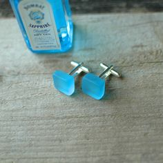 Bombay Gin Cuff Links // Recycled Glass Bottle by reVetro on Etsy