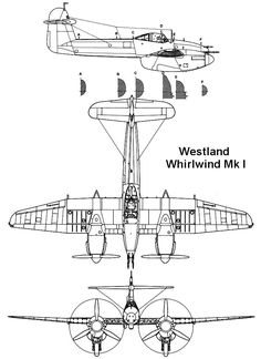 Westland Whirlwind 002 dwg 3v Air Force Aircraft, Ww2 Aircraft, Military Aircraft, Westland Whirlwind, Battle Of Britain, Royal Air Force, Scale Models, Aviation, Cutaway