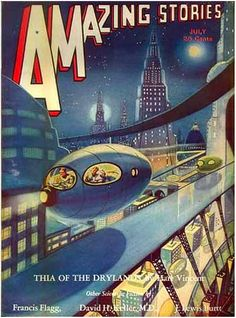 Amazing Stories magazine cover.  Retro futurism back to the future tomorrow tomorrowland space planet age sci-fi pulp flying train airship steampunk dieselpunk