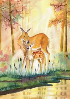 Adorable cute watercolor painting of a baby deer and her mommy in an enchanted forest. By, Melly Terpening Bambi, Forest Painting, Feather Painting, Deer Drawing, Deer Art, Colorful Animals, Baby Deer, Art Auction, Cute Art