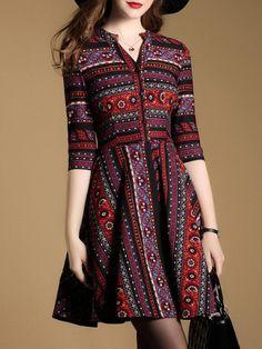 Multicolor V Neck Tribal Print Dress Stylish Dresses For Girls, Modest Dresses, Casual Dresses, Short Dresses, Fashion Dresses, Model Dress Batik, Batik Dress, Designer Kurtis, Designer Dresses