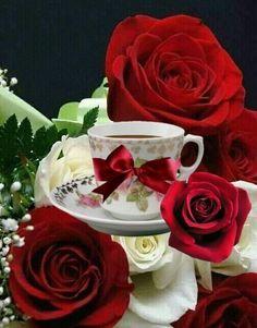 Good Morning Roses, Good Morning Coffee, Good Morning Good Night, Good Morning Images, Sweet Coffee, Coffee Love, Flowers Gif, Love Flowers, Love Images