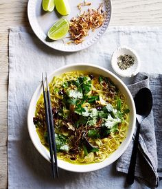 Fragrant chicken noodle soup is the perfect restorative, especially with chilli, turmeric and ginger added for extra goodness