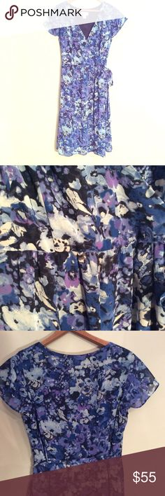 """LOFT🔹FAUX WRAP🔹LINED CHIFFON DRESS🔹LIKE NEW LOFT lined faux wrap dress. Poly chiffon, side tie, side zip. Beautiful palette of blues and purples! Very gently used. Like new. 19"""" armpit to armpit. 38.25"""" long. Size 8. Works for date night, special occasion, or office. SUGGESTED USER, FAST SHIPPER LOFT Dresses Midi"""