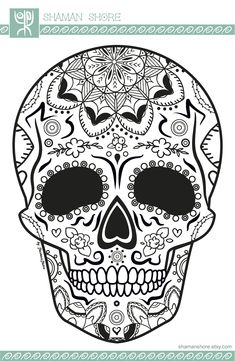 Skull Coloring Pages, Adult Coloring Book Pages, Printable Adult Coloring Pages, Coloring Books, Colouring, Candy Skulls, Sugar Skulls, Sugar Skull Artwork, Flower Line Drawings