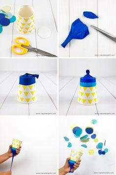 Idees per festes. Crea el teu canó de confeti.  Make your simple party poppers!  #confeti #confetti #popper #partypopper #papercups #craft #party #festa #fiesta #manualitats #manualidades #diy #ideas