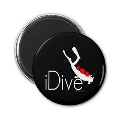 Shop idive magnet created by Personalize it with photos & text or purchase as is! Gifts For Scuba Divers, Round Magnets, Paper Cover, Cool Designs, Recycling, Prints, Upcycle