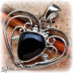 Black Onyx Sterling silver 925  Heart by LightstonesCrystals, $29.99