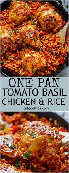 Crispy chicken bakes over a bed of tomato basil rice in this One Pan Tomato Basil Chicken & Rice. Dinner is ready in 45 minutes! All made in one pan | https://cafedelites.com
