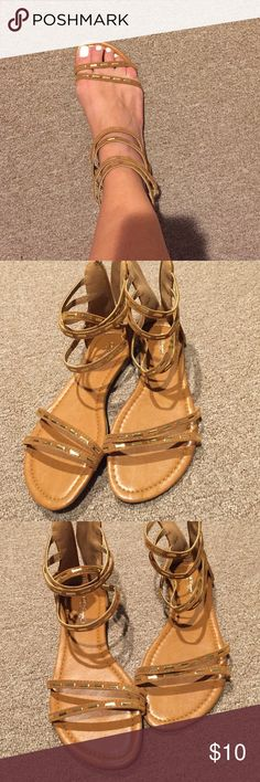 Brown Suede Like Sandals Ankle Strap Brown/ dark Tan Suede Gold Jewel Detail, size 7 1/2, never worn Shoes Sandals