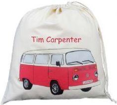 Personalised VW Bay Camper Van Large Drawstring Bag - Red