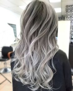 Balayage Hair Blonde Medium, Balayage Hair Caramel, Gray Hair Highlights, Silver White Hair, Silver Blonde, Platinum Blonde Hair, Ash Grey Hair, Pink Purple Hair, Hair Color And Cut