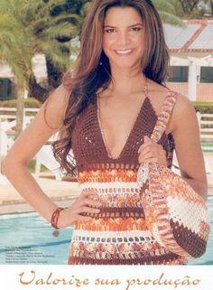 Delicadezas en crochet Gabriela: Conjunto de top y bolsa con esquemas en crochet
