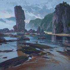 ArtStation - Little G liulian Environment Painting, Sci Fi Environment, Environment Design, Fantasy Landscape, Landscape Art, Landscape Paintings, Fantasy Art, Fantasy Places, Wow Art