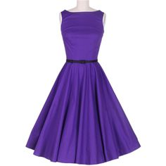 Vintage Scoop Neck Sleeveless Purple Pleated Dress
