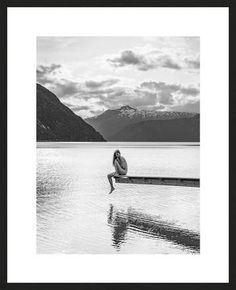 Lukas Dvorak, Above the Fjords, 2015 / 2015 © www.lumas.com/ #LumasBeauty,  Black and white,  black-and-white,  diving platform,  diving platforms,  Eidfjord,  erotic,  Eroticism,  Fjord,  Lake,  Lakes,  Landscape,  Landscapes,  Mountain,  Mountains,  Nature,  Norway,  Nude,  Nudes,  Photography,  Water,  Woman,  Women