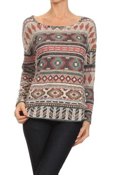 Ginger G Aztec Print Long Sleeve Top for Women