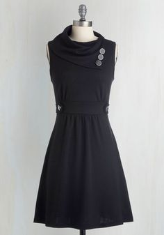 Coach Tour Dress in Noir - Black, Buttons, Pockets, Casual, A-line, Sleeveless, Best Seller, Cowl, Work, Winter, Basic, Fall, Nautical, Maternity, Full-Size Run, Mid-length, Good, 4th of July Sale, Top Rated