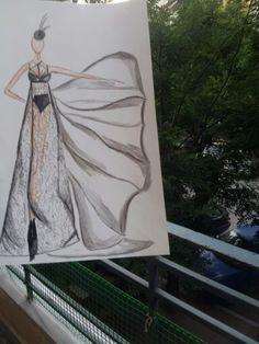 Fashion sketch women 2014 Black maxi dress