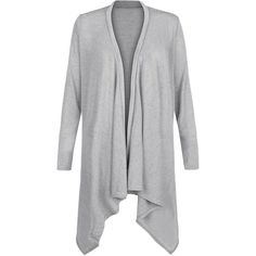 Cameo Rose Grey Waterfall Cardigan (41 CAD) ❤ liked on Polyvore featuring tops, cardigans, grey, rose tops, long sleeve cardigan, waterfall cardigan, gray open front cardigan and gray cardigan