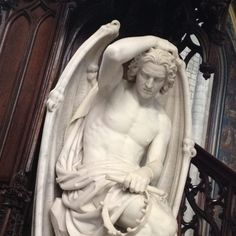 The Lucifer of Liege, St Pauls Cathedral, Liege. The marble Lucifer hides behind the pulpit of this Gothic cathedral. Italian Statues, Greek Statues, Angel Statues, Buddha Statues, Angels Among Us, Angels And Demons, Renaissance Paintings, Renaissance Art, Michelangelo