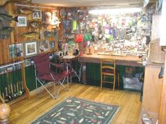 I would really love for my husband to have a space/room for fly-tying, and assorted hunting/fishing stuff. he deserves it. :D
