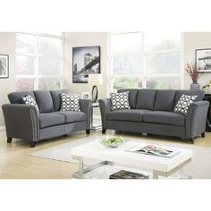 Furniture of America Vellaire Contemporary 2-piece Sofa Set (Grey)