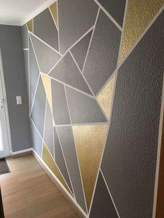 Most Popular bedroom wall design geometric 37 Ideas Bedroom Wall Designs, Wall Decor Design, Bedroom Decor, Gold Bedroom, Bedroom Ideas, Geometric Wall Paint, Geometric Decor, Geometric Shapes, Room Wall Painting