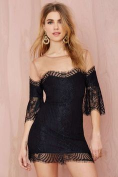 For Love & Lemons Belle Lace Mini Dress - Going Out | LBD | Body-Con | For Love and Lemons | Lace Dresses | Off The Shoulder |  | Dresses | Dresses | Sale on Sale