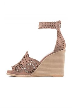 "Ankle strap wedge sandals with laser cut detail in a beautiful blush/beige color that will work with everything in your closet! Fits true to size Measurements taken from size 6 3.75"" heel, 0.5"" platform Leather upper, leather lining, synthetic sole Zipper closure.    Lasercut Wedge by Jeffrey Campbell. Shoes - Wedges Atlanta, Georgia"