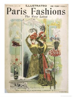 Trying on Hats in a Hat Shop, Illustrated Paris Fashions, 1898