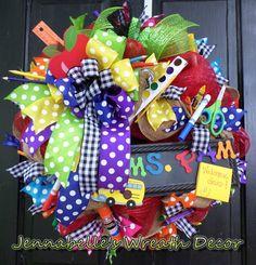 "22"" Back to School Wreath, Burlap Wreath, Mesh Wreath, Teacher Wreath, Apple Wreath-Teacher Appreciation Wreath Crafts, Diy Wreath, Wreath Burlap, Wreath Ideas, Diy Crafts, School Wreaths, Teacher Wreaths, Classroom Wreath, Classroom Decor"