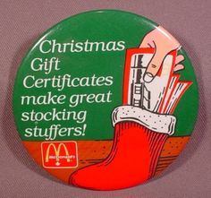 "Pinback Button 3 1/2"" Round, Mcdonalds Christmas Gift Certificates Make Great Stocking Stuffers"