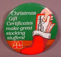"Pinback Button 3 1/2"" Round, Mcdonalds Christmas Gift Certificates Make Great Stocking Stuffers"