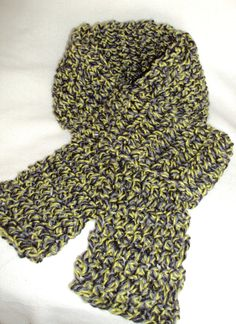 Chunky Style Scarf Gray/Black/Yellow by tracyleeilg1318 on Etsy