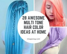 Are You Worrying About Multi Tone Hair Color Ideas At Home ? Light Red Hair Color, Hair Color Pink, Brown Hair Colors, Dark Brown Long Hair, Light Brown Hair, Light Hair, Gray Highlights Brown Hair, Blue And Pink Hair, Cool Hairstyles