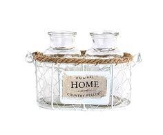 """Sada 2 svícnů v košíku """"Home"""", Ø 7, výš. 15 cm"""