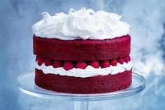Serves 10-12 225g unsalted butter, softened 275g caster sugar 1½ tsp vanilla extract 3 eggs 300g self-raising flour, sifted 35g cocoa, sifted 180ml buttermilk 60ml red food colouring 250g fresh...