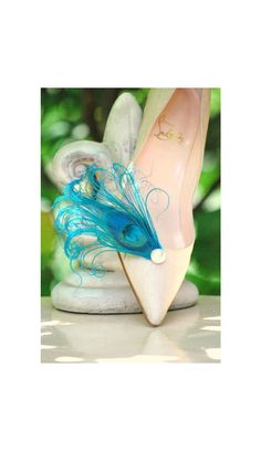 Something Blue Shoe Clips. Turquoise Peacock & Pearl, Rhinestone Gem, Engagement Couture Statement E