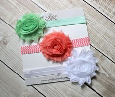 Baby headband set   Mint Coral White  by PinkPoppiesDesigns / 10