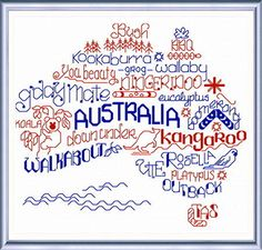 Cross Stitch Charts Lets Visit Australia - cross stitch pattern designed by Ursula Michael. - Let's Visit Australia cross stitch pattern. Another fun pattern in our 'Words' series. Cross Stitch Fabric, Cross Stitch Charts, Counted Cross Stitch Patterns, Cross Stitch Designs, Cross Stitching, Cross Stitch Embroidery, Blackwork, Machine Embroidery Designs, Embroidery Patterns