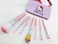 Kit com 7 pincéis + estojo (Hello Kitty)
