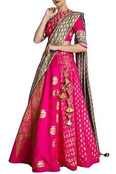 Masaba Gupta Lehenga, Saree, Anarkali at Pernias Pop-Up Shop Silk Lehenga, Anarkali, Indian Dresses, Indian Outfits, Hot Pink Blouses, Pink Olive, Lehnga Dress, Pernia Pop Up Shop, Indian Ethnic Wear